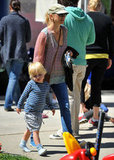 Naomi Watts walked with her son Kai Schreiber through the farmers market in Brentwood.