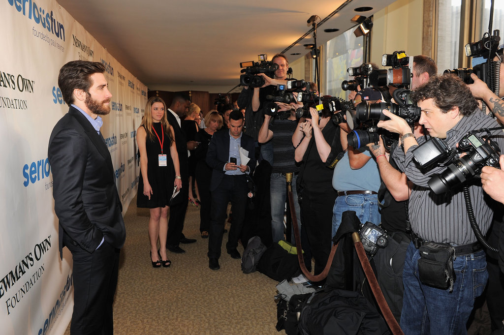 Jake Gyllenhaal took a moment to smile for the cameras while at an event for Paul Newman's foundation.
