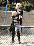 Gwen Stefani had a laugh with Zuma while on the playground in LA.