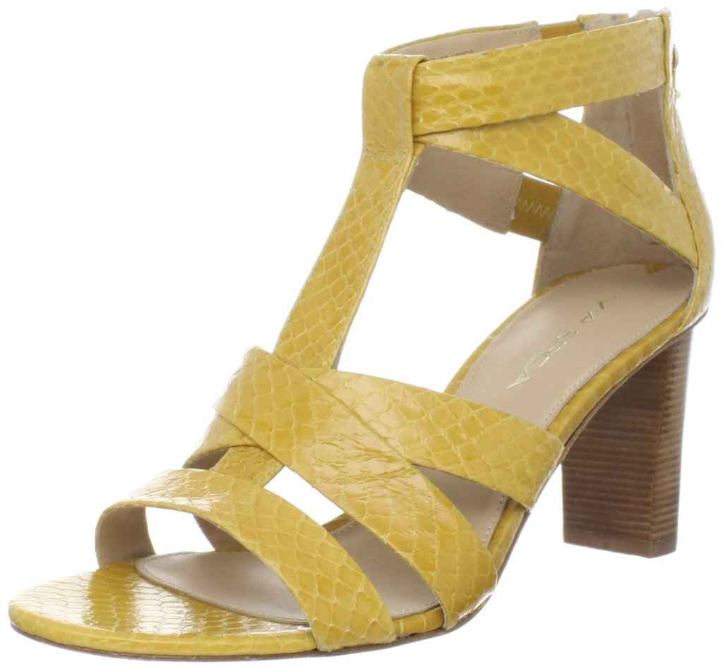 The textured yellow snakeskin provides just the right amount of exotic cool. Via Spiga Women's Bunny T-Strap Sandal ($198)