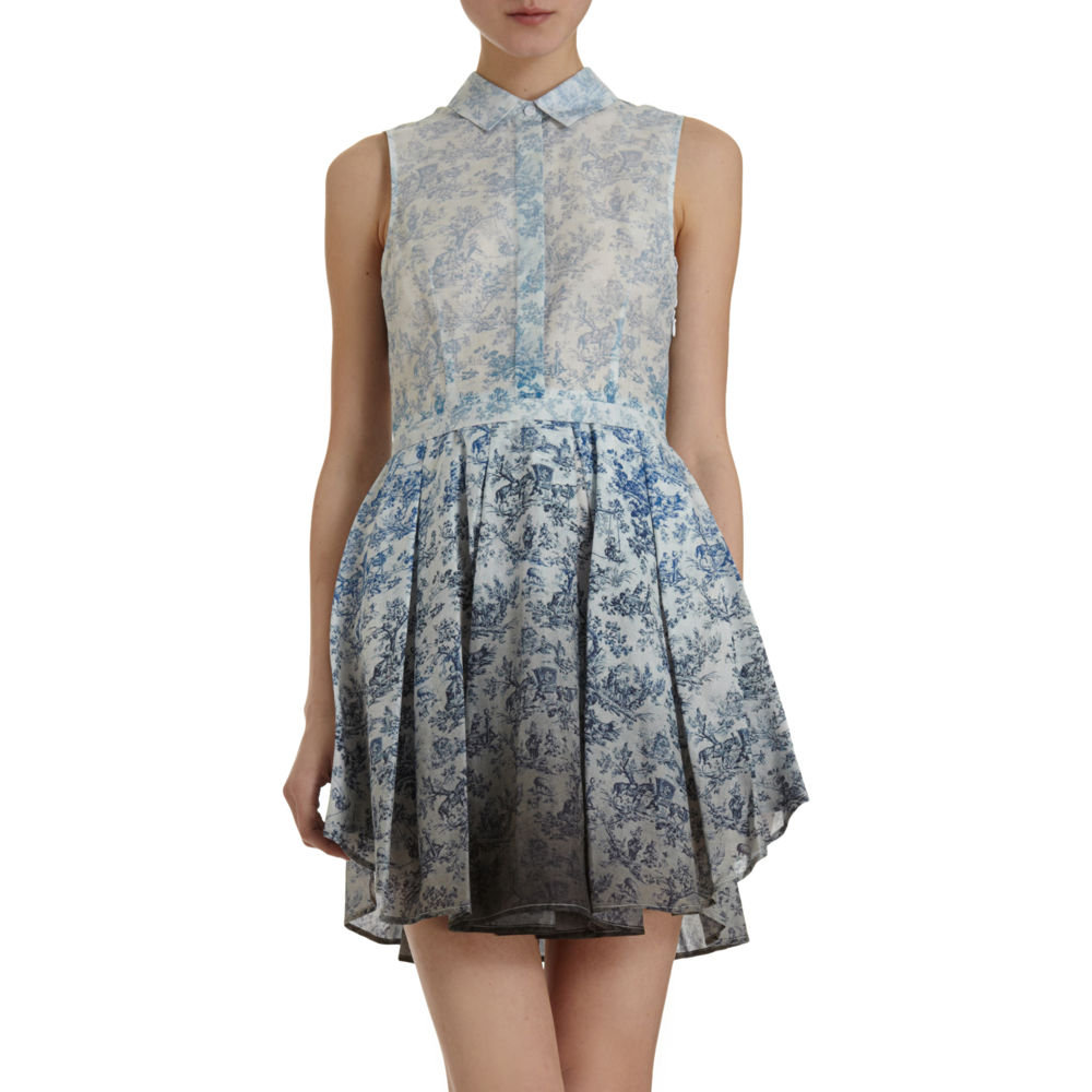 """""""I'm digging the ladylike pointed collar juxtaposed against a dip-dyed floral print — it's funky and perfect for walking around NYC."""" — Marisa Tom, associate editor  Band of Outsiders Toile Print Dress ($795)"""