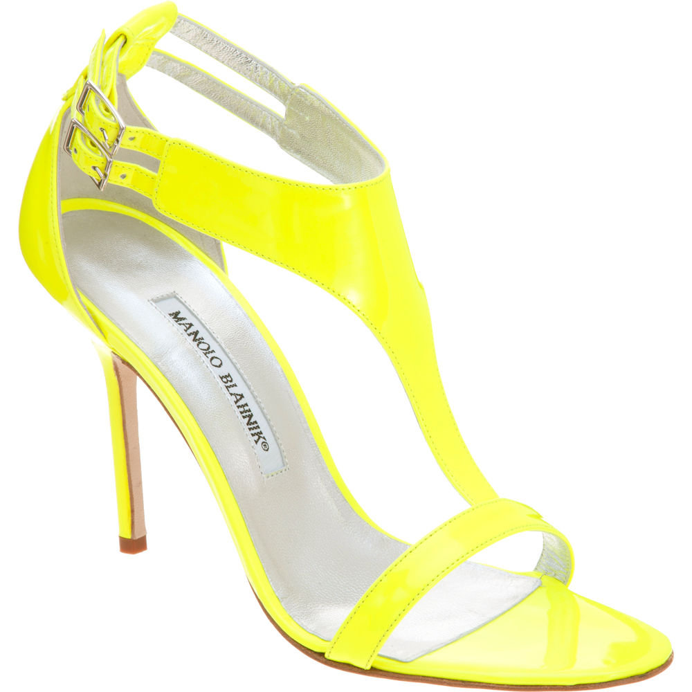Are you a fan of neon hues? Let this heel do all the talking. Manolo Blahnik Patent Leather T-Strap Sandals ($755)