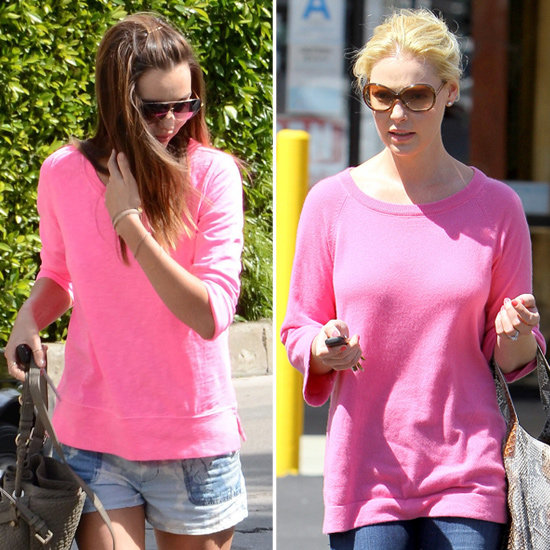 2 Different Ways to Work a Hot-Pink Sweater Like Miranda and Katherine