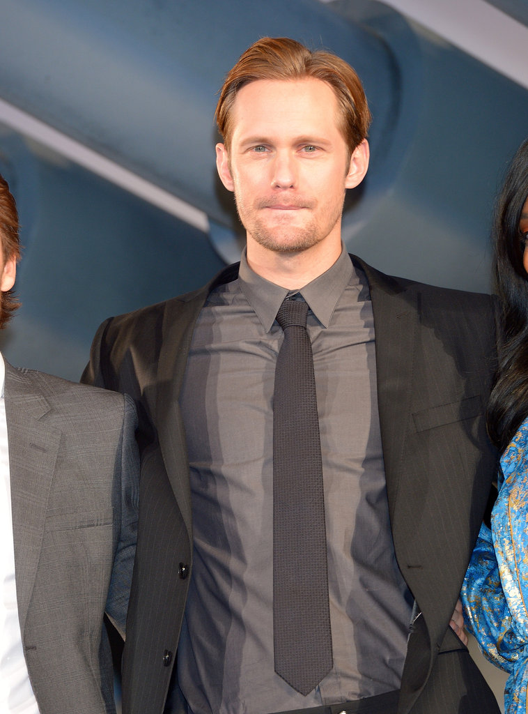 Alexander Skarsgard dressed in shades of gray.