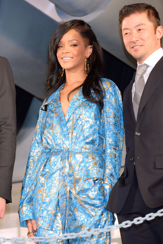 Rihanna flashed her million dollar smile.