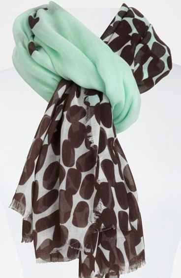 "Mint plus polka dots? We couldn't say ""no."" Diane von Furstenberg Cambell Scarf ($165)"
