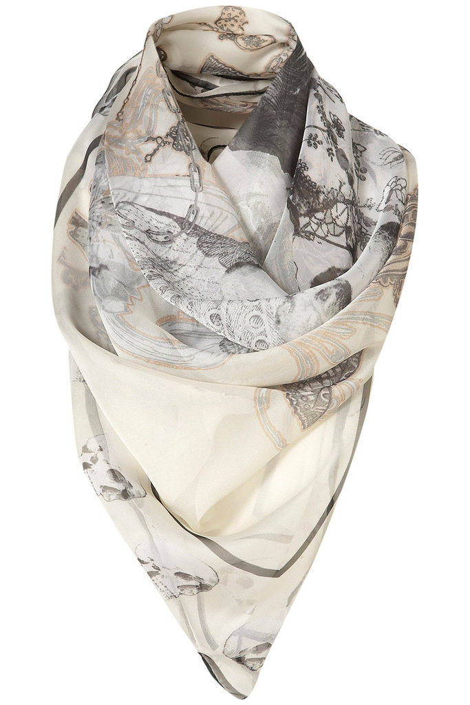 The skulls offer up a slightly darker feel with cream tones and a silky finish to keep it feminine and light. Topshop Cream Skull Scarf ($44)