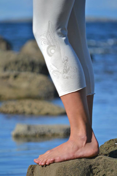 Malaya Yoga Tights ($48) not only boast this beautiful winged design, they're made of 70 percent viscose from bamboo, 25 percent organic cotton, and 5 percent spandex jersey.
