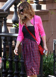 Sarah Jessica Parker wore a high-waisted plaid skirt in NYC.
