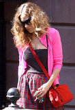 Sarah Jessica Parker wore a hot pink sweater in NYC.