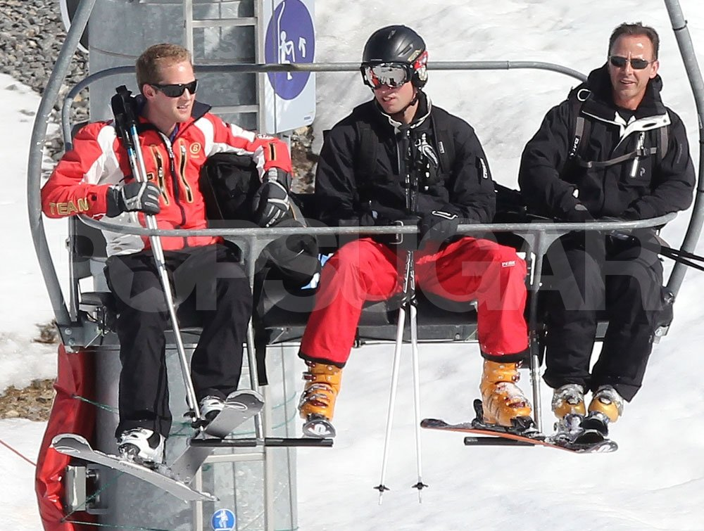 Prince William and George Percy rode the chairlift together while on a ski vacation in France.