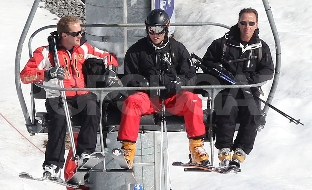 Prince William chatted with George Percy to pass the time on the lift in France.