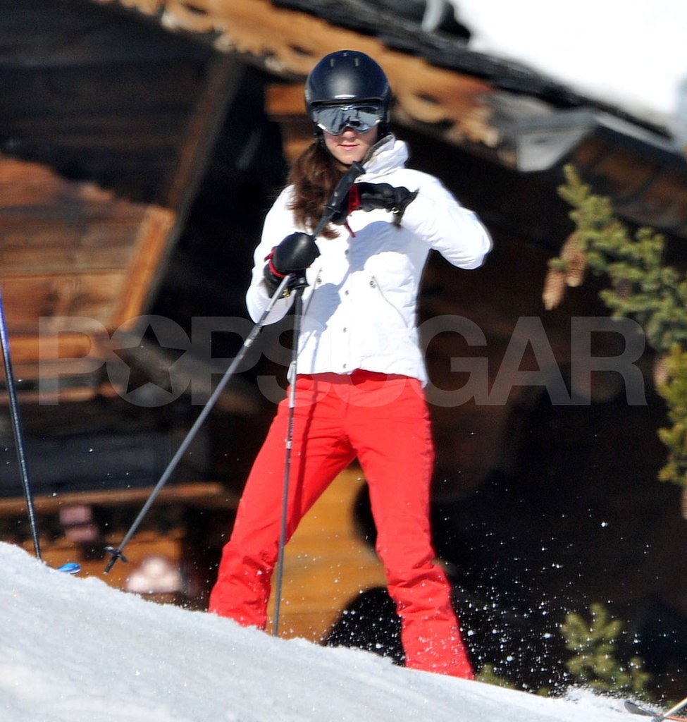 Kate Middleton prepared to ski down the hill in France.