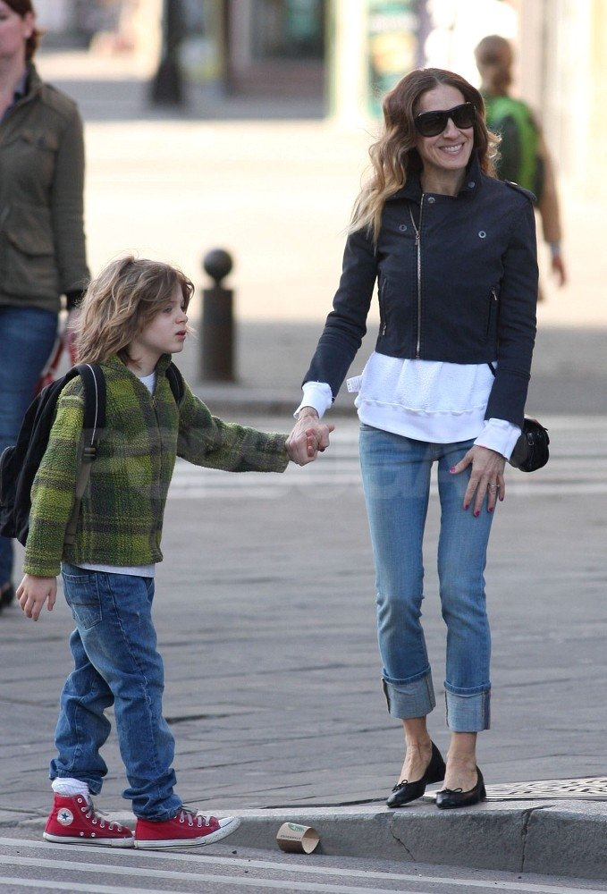 Sarah Jessica Parker looked cute and casual in her jeans while James Wilkie Broderick looked cool in red kicks.