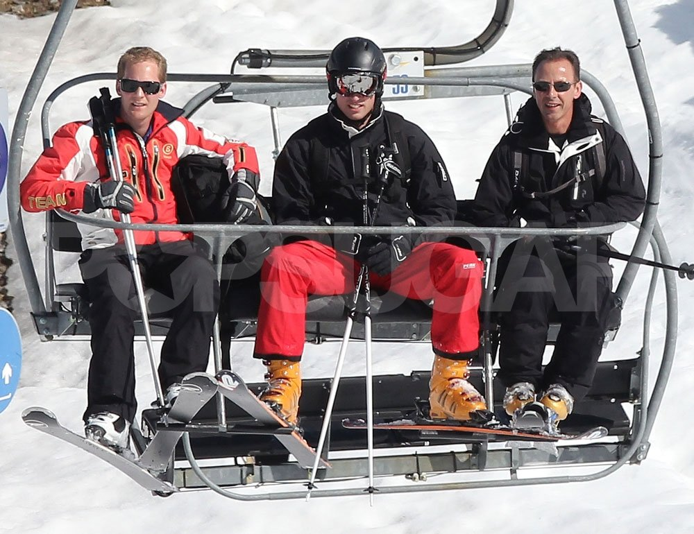 Prince William rode the chairlift with George Percy while on a ski vacation with the Middletons in France.