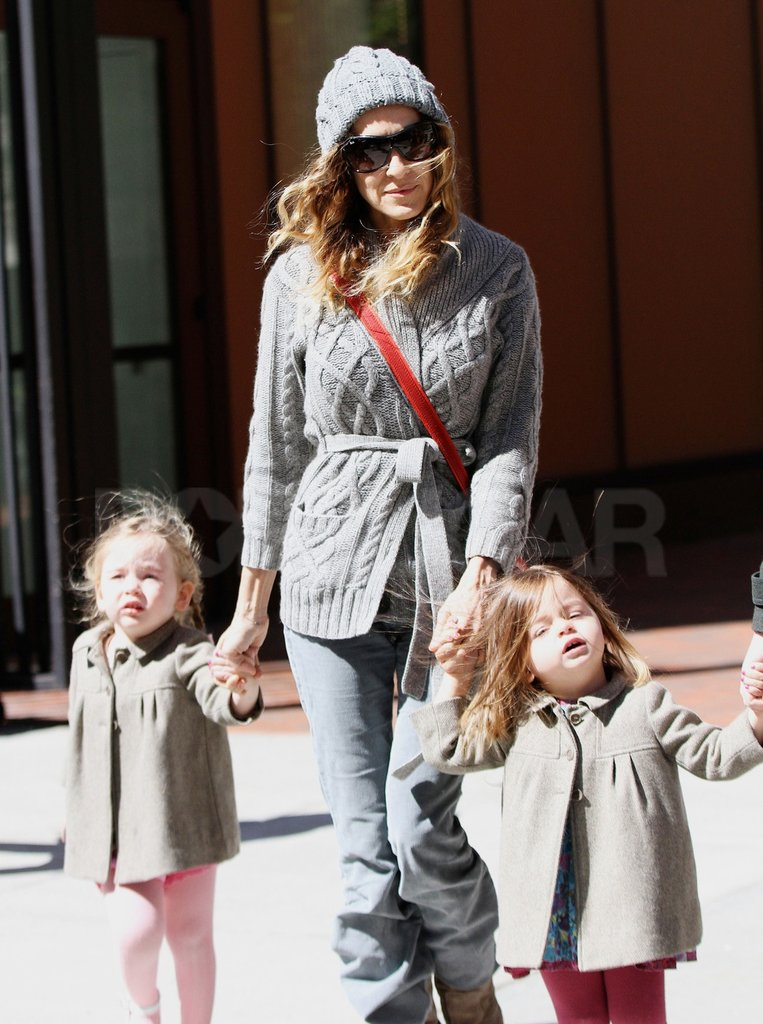 Sarah Jessica Parker walked with Tabitha and Loretta Broderick who wore matching coats in NYC.