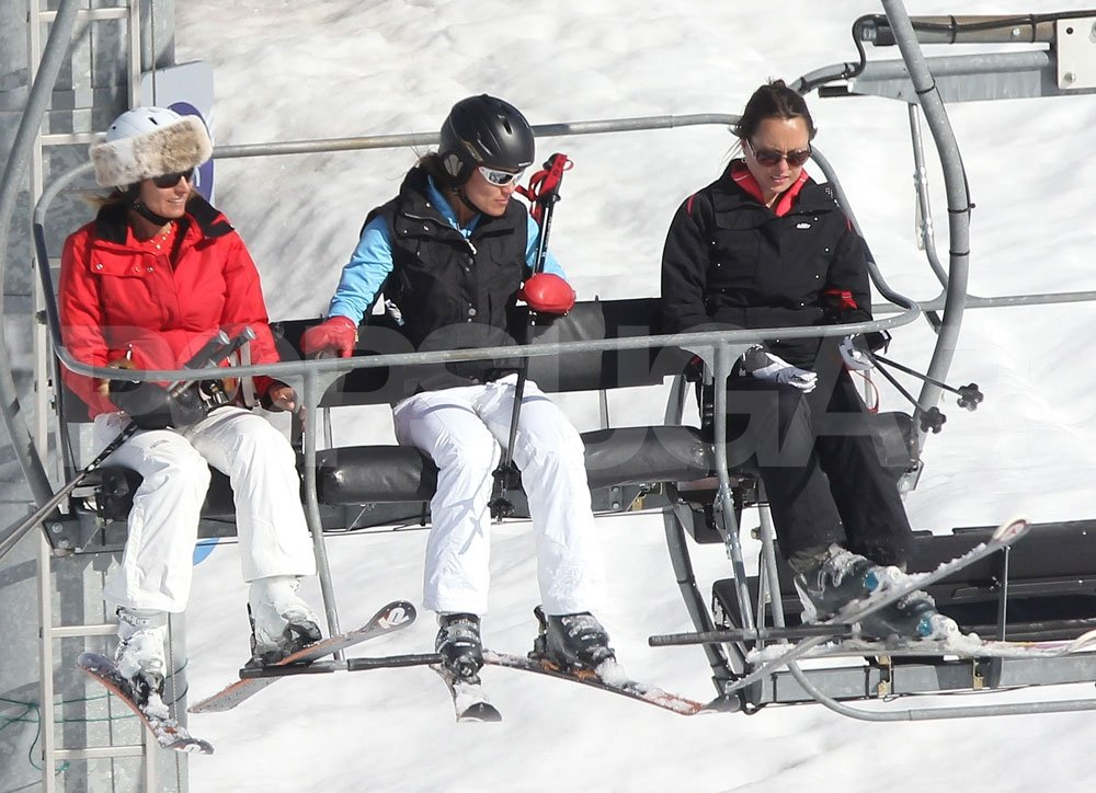 Pippa Middleton held on tight as she rode the chairlift with her mother, Carole Middleton, in France.