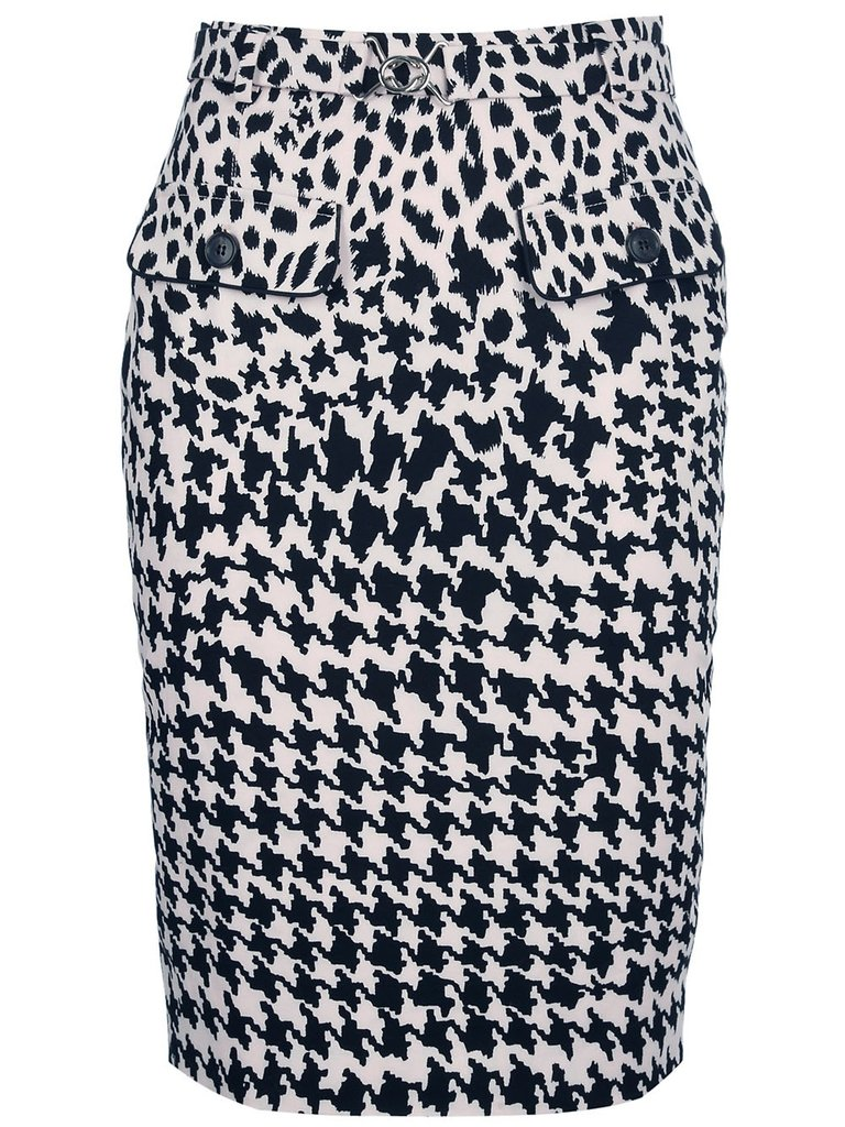 We love the cool juxtaposition of animal print meets oversized houndstooth print — try accenting the skirt with a pop of neon (skinny belt, bright heels, and more) for an element of surprise. McQ by Alexander McQueen Graphic Print Pencil Skirt ($403)