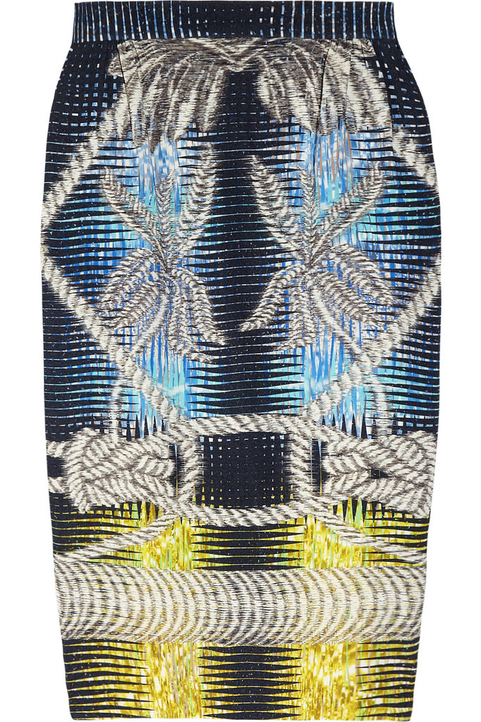 Get in on the digital print revolution via this psychedelic kaleidoscope design. For such a statement pattern, all you need to wear with it are sleek heels and an oversized sweater. Peter Pilotto Printed Stretch-Jersey Pencil Skirt ($910)