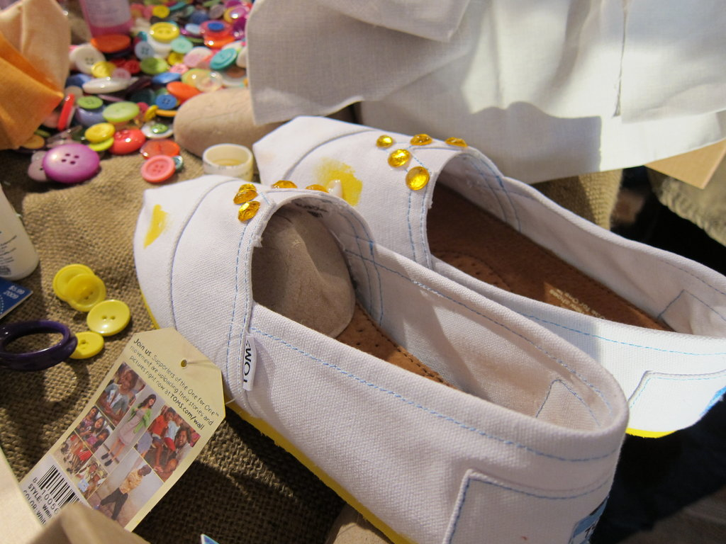 Yellow sequins popped up on another pair of TOMS.