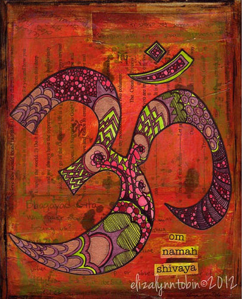 "This Yoga Art: Om ($16) fine-art print brings the simple but yoga-inspired message ""Om namah shivaya"" to your walls in an artistic way."