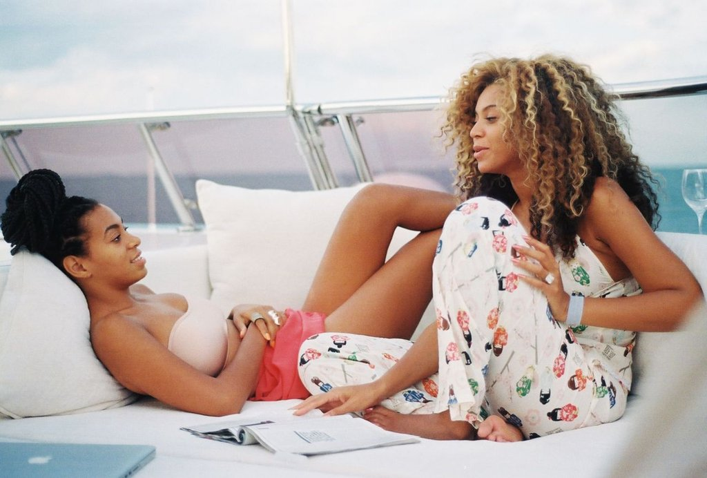 Beyoncé and Solange Knowles lounged on a boat.