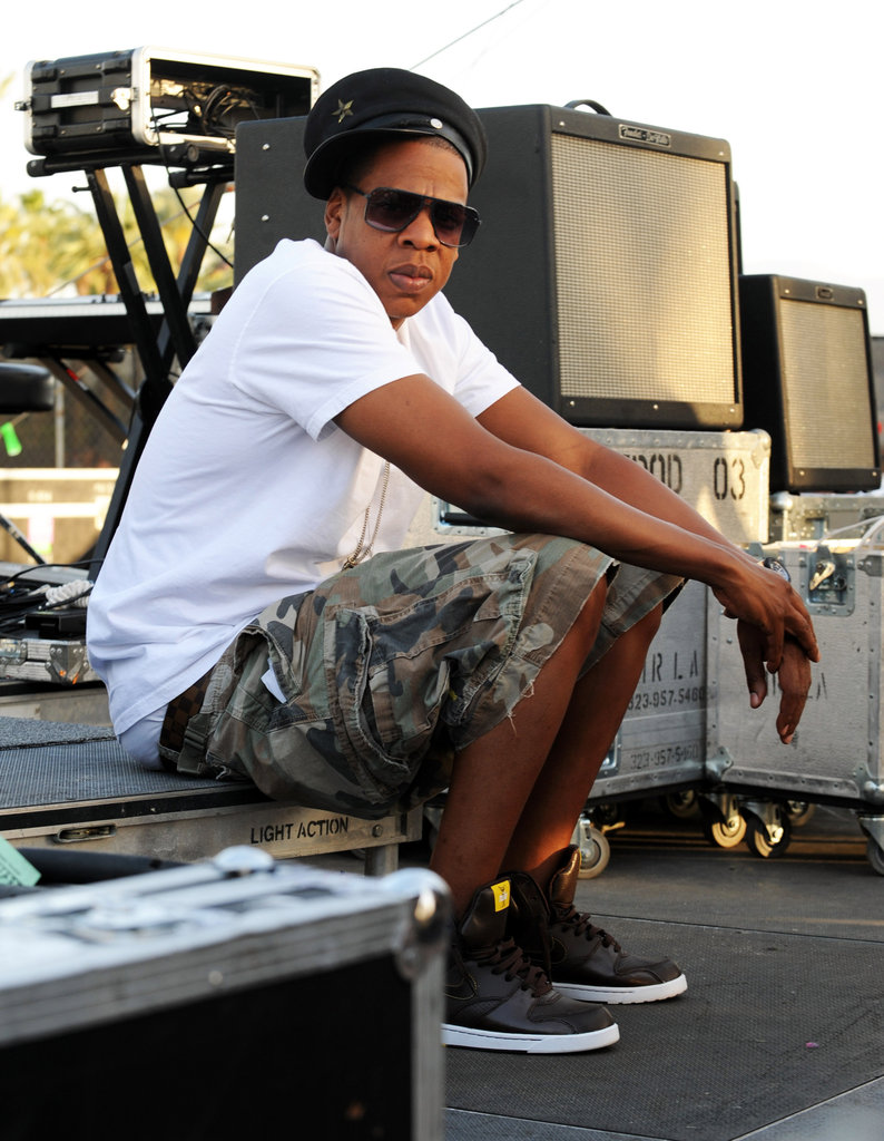 Jay-Z hung out backstage in 2010.