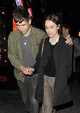 Keira Knightley wore a dark jacket and gray cropped pants while boyfriend James Righton wore an army green jacket out in London.