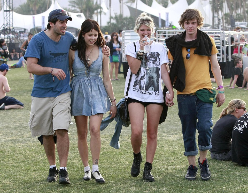 Eli Roth and Peaches and Pixie Geldof walked to a show in 2010.