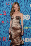 Leslie Mann wore a gold and lace dress to the premiere of HBO's Girls in NYC.