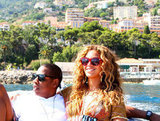 Beyoncé and Jay-Z cuddled up on a boat.