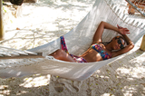 Beyoncé Knowles wore a bikini for some fun hammock time.