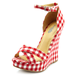 How sweet is this gingham print? We'd add these to a breezy LWD or a pair of ankle-cuffed denim and a blazer.