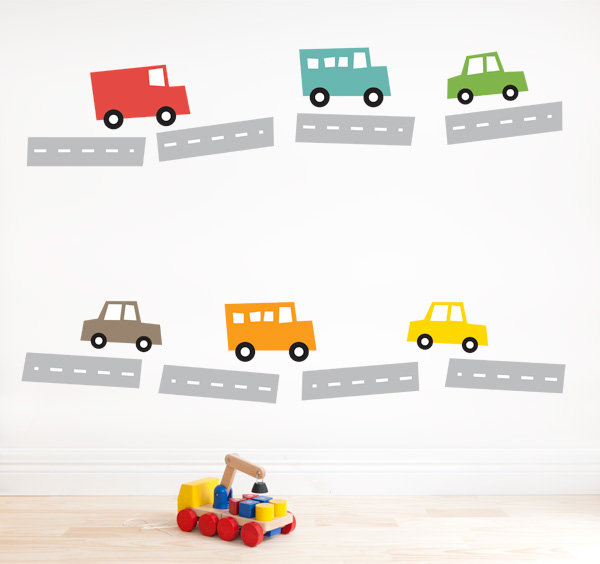 For the Nursery Walls: 41 Orchard Little Cars Wall Stickers