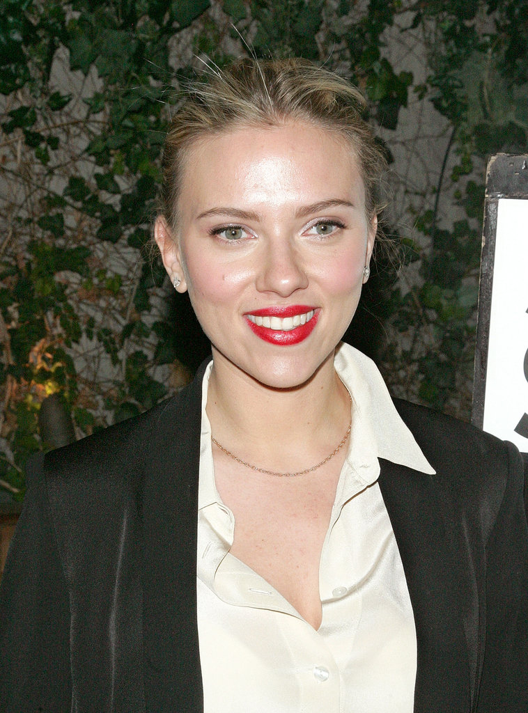 Scarlett Johansson smiled with bright red lips at a party she hosted for family friend Scott Stringer, a 2013 NYC mayoral candidate in NYC.