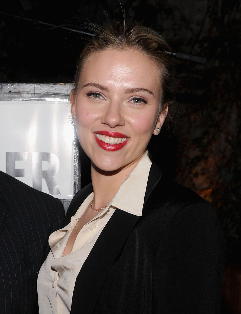 Scarlett Johansson looked happy to help her friend Scott Stringer, a 2013 NYC mayoral candidate, by hosting a party in his honor at the Maritime Hotel in NYC.