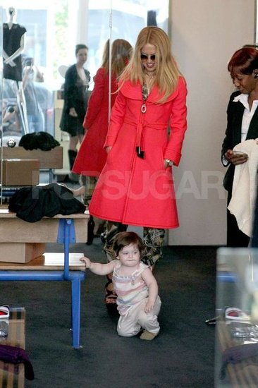 Rachel Zoe wore a bright Spring jacket on a shopping trip with her son Skyler in West Hollywood.