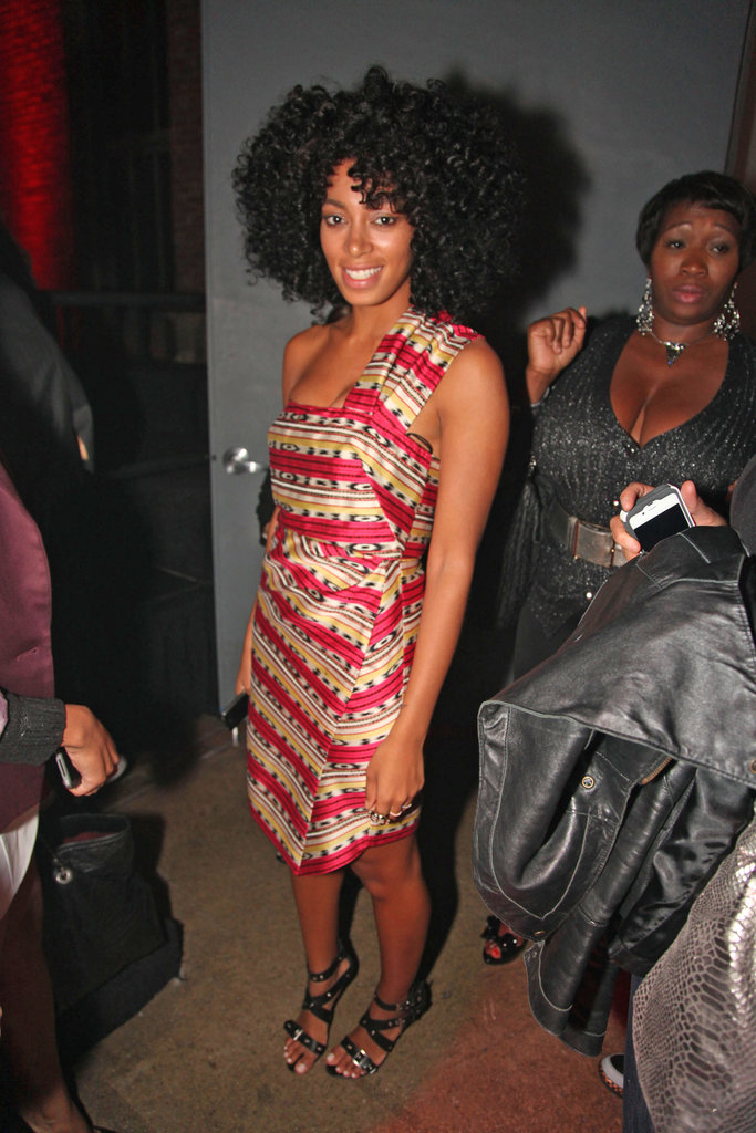 Solange Knowles showed off a tribal-inspired Carven dress at an NYC event.