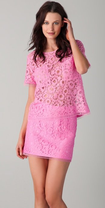 We can't get enough of the lacy finish and pretty pink hue.  Jenni Kayne Double Pocket Lace Tee ($595)