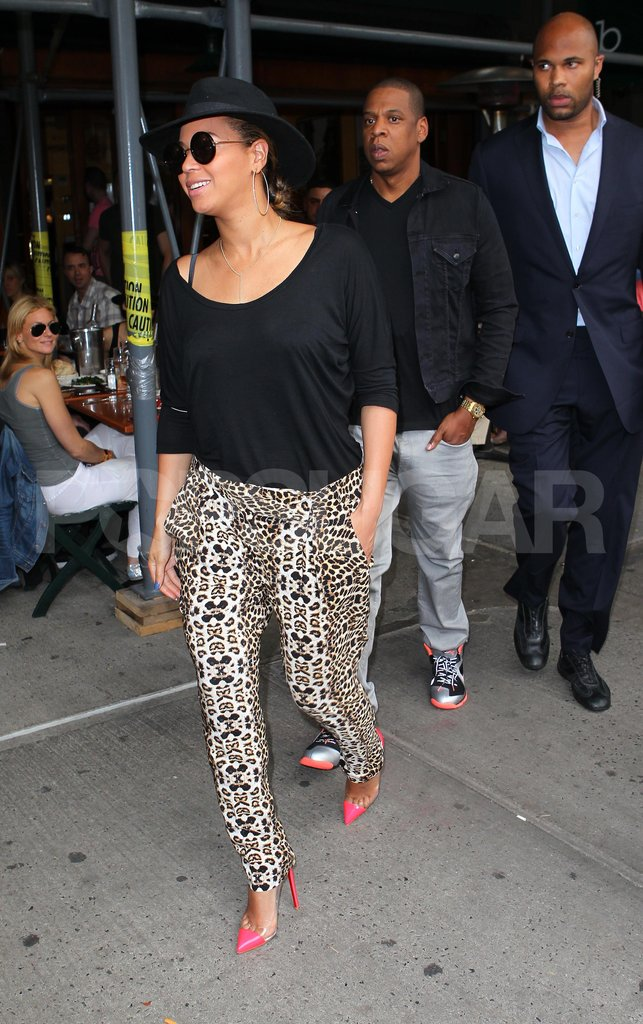 Beyoncé Knowles and Jay-Z left Bar Pitti in NYC.