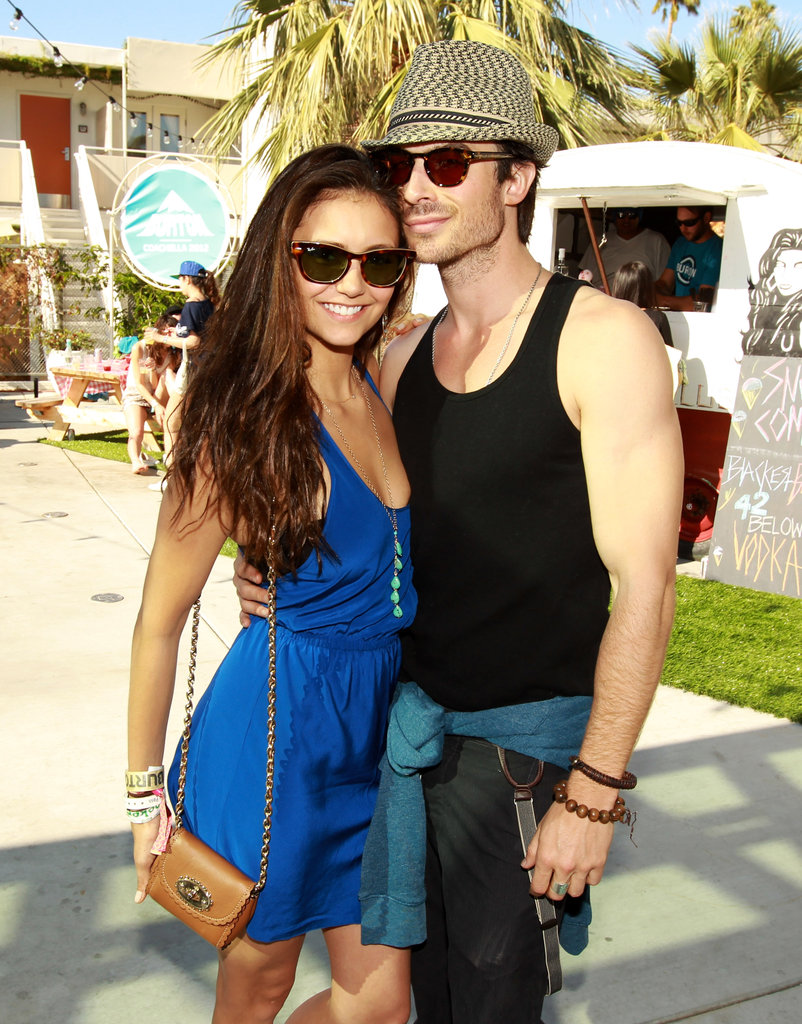 Nina Dobrev and Ian Somerhalder posed at Burton's BBQ during the festival.