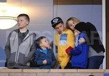 Romeo Beckham, Brooklyn Beckham, Jack Ramsay, and Cruz Beckham watched a soccer game.