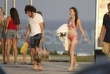 Leighton Meester, in a bikini, hit the beach in Rio with boyfriend Aaron Himelstein.
