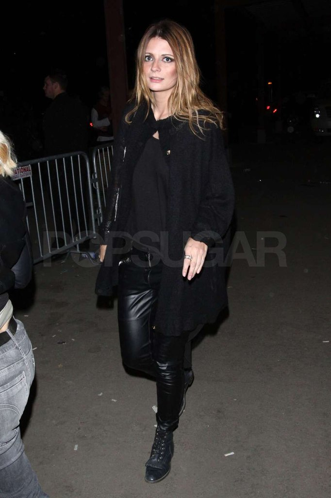 Mischa Barton sported leather leggings.
