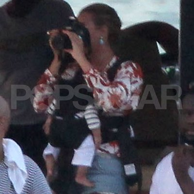 Beyoncé Knowles carried Blue Carter in St. Barts.