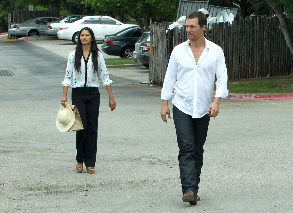 Matthew McConaughey, trailed by wife Camila Alves, headed out to lunch on Easter Sunday in Texas.