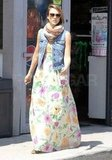 Jessica Alba wore a long dress as she hung out in LA.