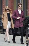 Emma Stone and Andrew Garfield walked down the street together in NYC.