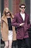 Emma Stone and Andrew Garfield both wore black shades in NYC as the couple walked through a neighborhood together.
