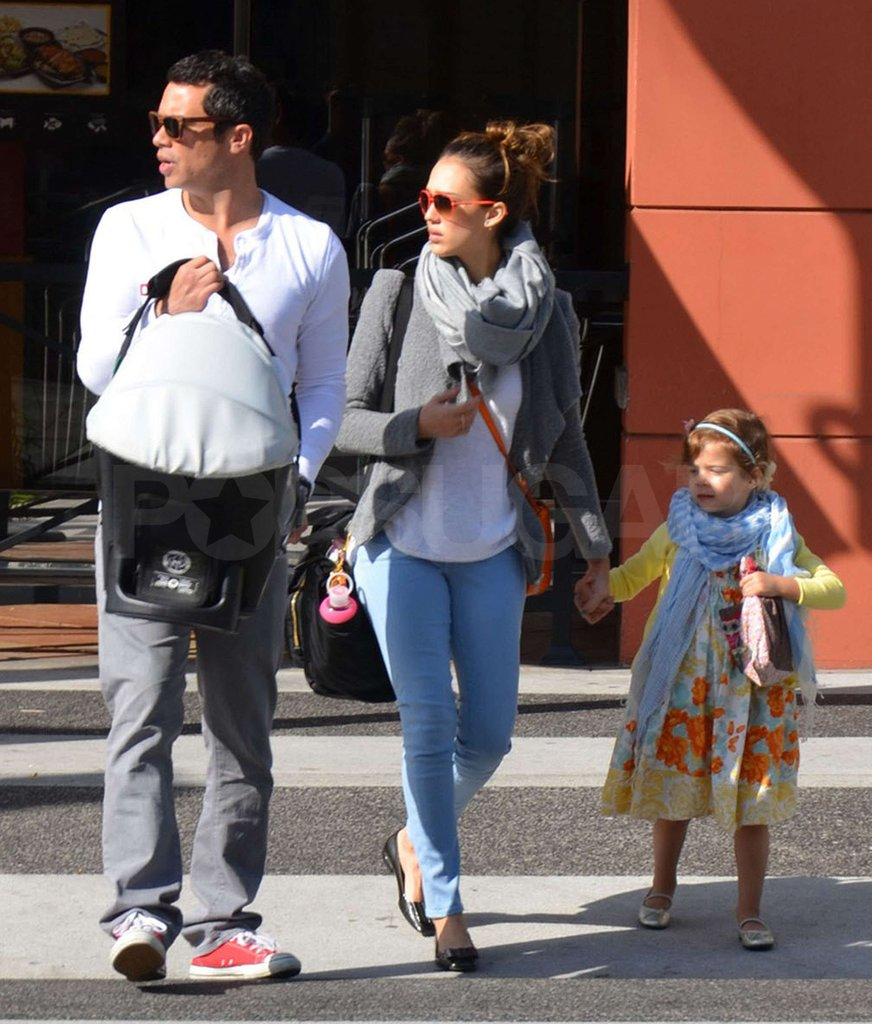 Jessica Alba, Cash Warren, and the family looked both ways as they crossed the street in LA.